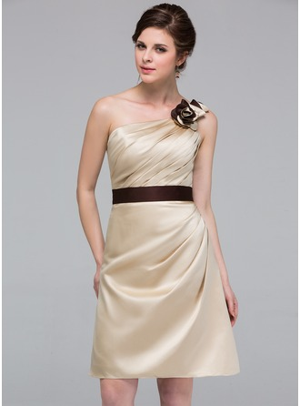 Sheath/Column One-Shoulder Knee-Length Satin Bridesmaid Dress With Ruffle Sash Flower(s)