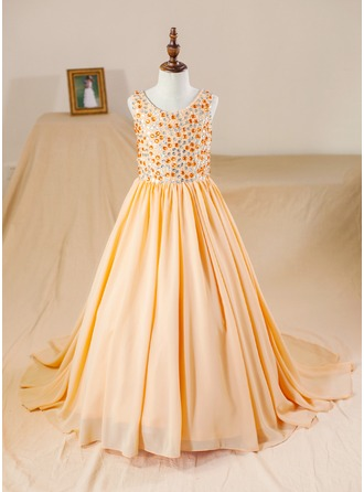 Ball Gown Court Train Flower Girl Dress - Chiffon Sleeveless Scoop Neck With Beading (Petticoat NOT included)