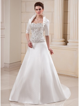 A-Line/Princess Sweetheart Chapel Train Satin Wedding Dress With Embroidered Beading Sequins