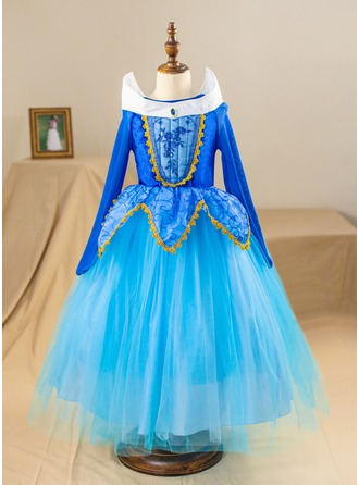 Ball Gown Ankle-length Pageant Dresses - Satin/Tulle Long Sleeves Scoop Neck With Rhinestone (Petticoat NOT included)