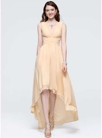 A-Line/Princess Scoop Neck Asymmetrical Chiffon Prom Dress With Ruffle Beading Sequins