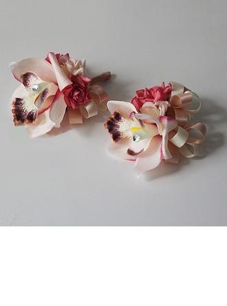 Jolie Soie artificielle/Strass Sets de fleurs ( ensemble de 2) - Corsage du poignet/Boutonnière