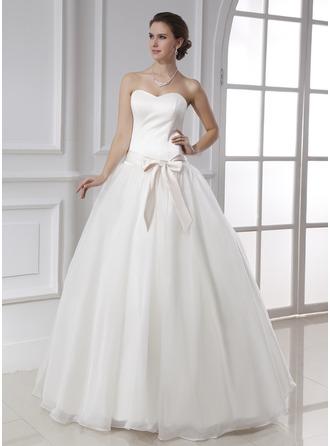 Ball-Gown Sweetheart Floor-Length Satin Organza Wedding Dress With Sash Bow(s)