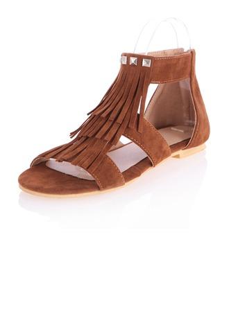 Suède Talon plat Sandales Chaussures plates À bout ouvert avec Zip Tasse chaussures