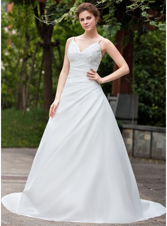 A-Line/Princess V-neck Cathedral Train Taffeta Wedding Dress With Ruffle Lace Beading