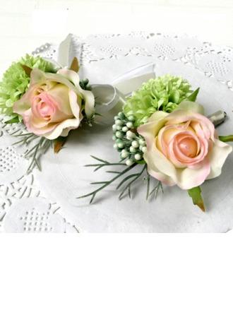 Magnifique Soie artificielle Sets de fleurs ( ensemble de 2) - Corsage du poignet/Boutonnière