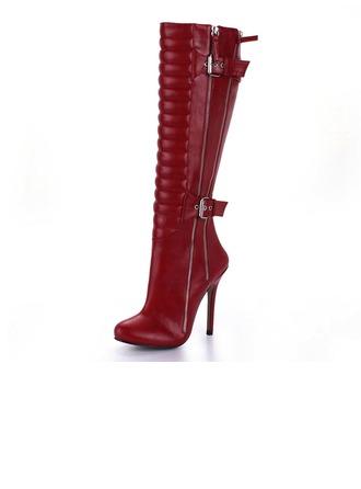 Femmes Similicuir Talon stiletto Bottes hautes avec Zip chaussures