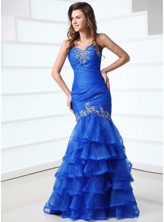 Trumpet/Mermaid Sweetheart Floor-Length Organza Prom Dress With Beading Cascading Ruffles