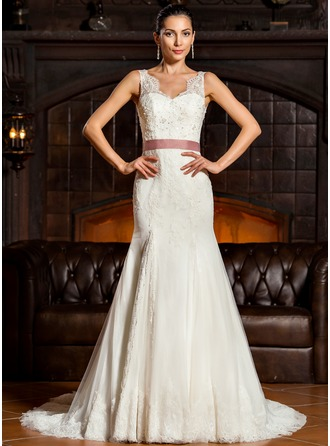 Trumpet/Mermaid V-neck Sweep Train Tulle Lace Wedding Dress With Beading Sequins Bow(s)