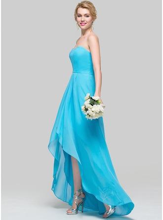 Трапеция/Принцесса возлюбленная асимметричный шифон Платье Подружки Невесты с Рябь