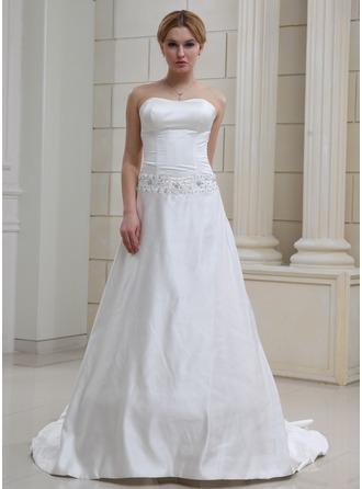 A-Line/Princess Sweetheart Chapel Train Satin Wedding Dress With Lace Beading