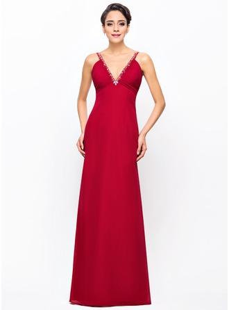 Sheath/Column V-neck Floor-Length Chiffon Evening Dress With Ruffle Beading Sequins
