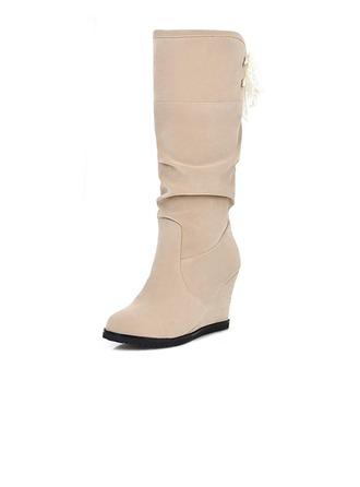 Femmes Suède Talon compensé Bottes mi-mollets chaussures