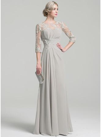 A-Linie/Princess-Linie U-Ausschnitt Bodenlang Chiffon Kleid für die Brautmutter mit Rüschen