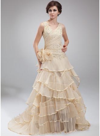 Трапеция/Принцесса V-образный Церемониальный шлейф Органза Платье для Отдыха с Бисер аппликации кружева Цветы Ниспадающие оборки Плиссированный