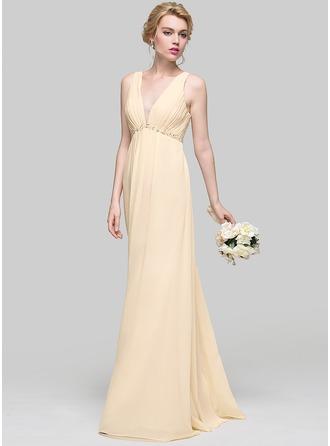 A-Linie/Princess-Linie V-Ausschnitt Bodenlang Chiffon Brautjungfernkleid mit Rüschen Perlstickerei Pailletten Schleife(n)