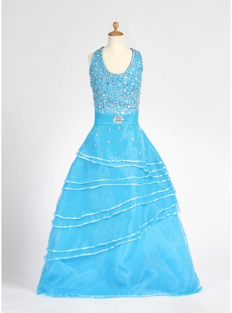 A-Line/Princess Halter Floor-Length Organza Flower Girl Dress With Beading