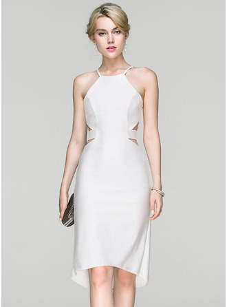 Sheath/Column Scoop Neck Asymmetrical Jersey Cocktail Dress
