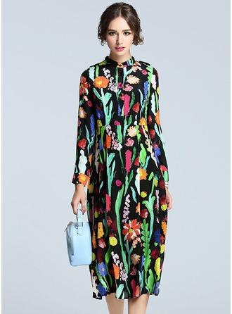 poliéster/De seda con Estampado Midi Vestido