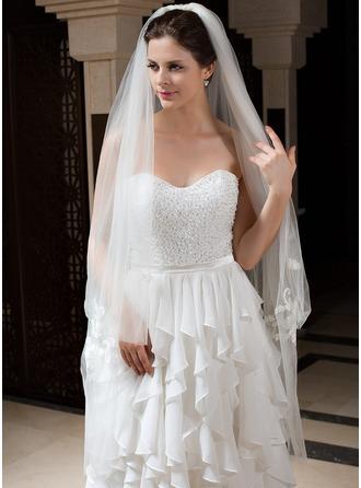 2 couches Voiles de mariée valse avec Bord de coupe