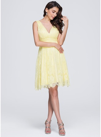 A-Line/Princess V-neck Knee-Length Lace Bridesmaid Dress With Ruffle