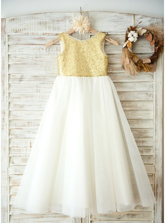 Corte A/Princesa Hasta el suelo Vestidos de Niña Florista - Tul/Con lentejuelas Sin mangas Escote redondo con Flores/V vuelta