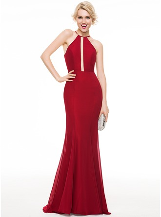 Trumpet/Mermaid Scoop Neck Sweep Train Chiffon Evening Dress