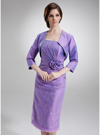 Sheath/Column Strapless Knee-Length Taffeta Lace Mother of the Bride Dress With Ruffle Beading Sequins