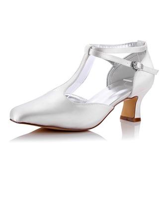 Femmes Satiné Talon bas Escarpins Chaussures qu'on peut teindre