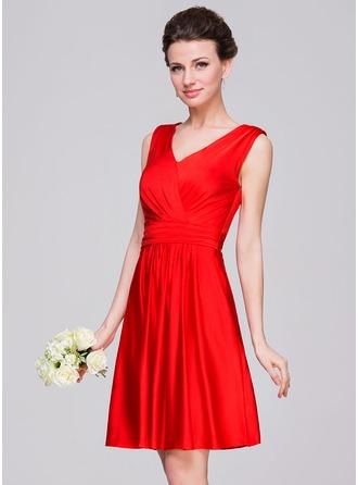 A-Line/Princess V-neck Knee-Length Jersey Bridesmaid Dress With Ruffle Bow(s)