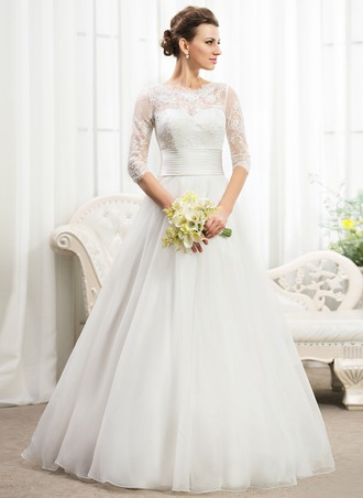 Ball-Gown Scoop Neck Floor-Length Organza Lace Wedding Dress With Ruffle Beading Sequins