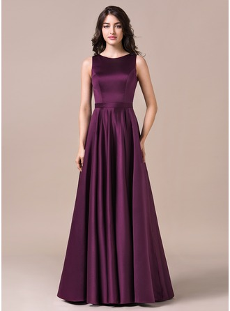 A-Line/Princess Scoop Neck Floor-Length Satin Bridesmaid Dress
