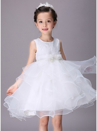 Empire Short/Mini Flower Girl Dress - Lace Sleeveless Scoop Neck With Embroidered/Beading/Flower(s)