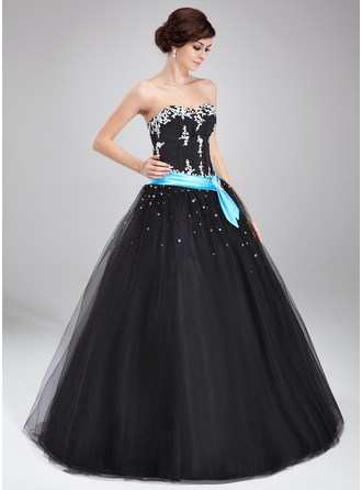 Ball-Gown Sweetheart Floor-Length Satin Tulle Quinceanera Dress With Sash Beading Appliques Lace