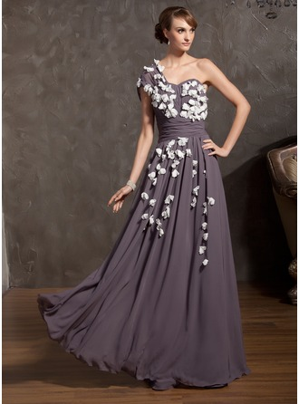 A-Line/Princess One-Shoulder Floor-Length Chiffon Mother of the Bride Dress With Ruffle Flower(s)