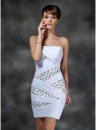 Sheath/Column Strapless Short/Mini Chiffon Cocktail Dress With Ruffle Beading