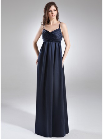 Empire V-neck Floor-Length Charmeuse Charmeuse Maternity Bridesmaid Dress With Ruffle
