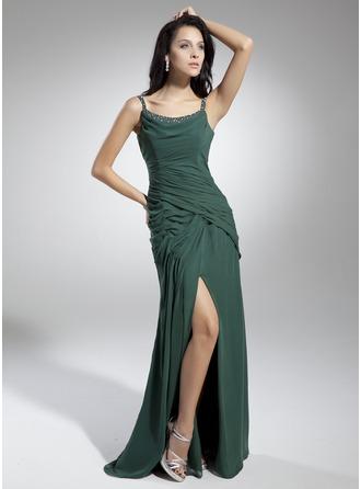 Vestidos princesa/ Formato A Decote redondo Longos De chiffon Vestido de Férias com Pregueado Bordado Frente aberta