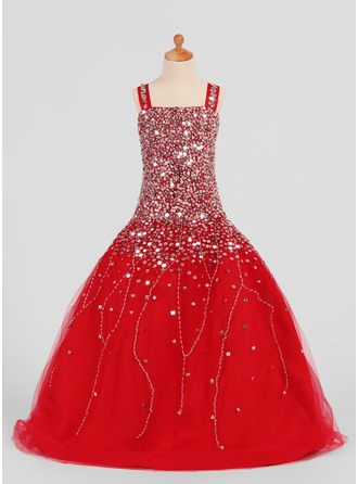 A-Line/Princess Square Neckline Floor-Length Tulle Flower Girl Dress With Beading Sequins