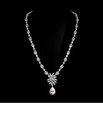 Gorgeous Copper/Zircon/Platinum Plated Women's/Ladies' Necklaces