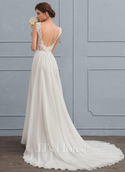 A-Line/Princess V-neck Court Train Chiffon Wedding Dress (002118434 ...