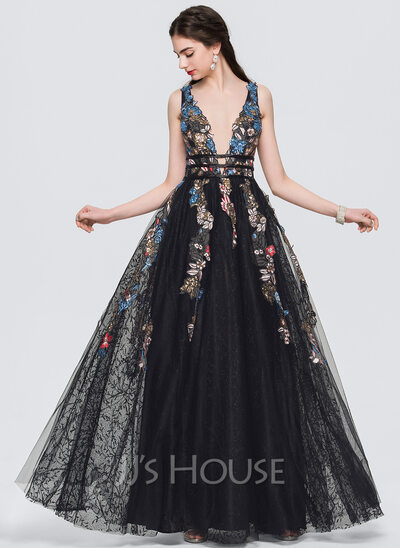 A-Line/Princess V-neck Floor-Length Tulle Prom Dresses With Lace ...