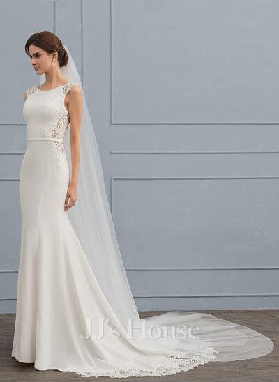 Trumpet/Mermaid Scoop Neck Court Train Satin Wedding Dress ...