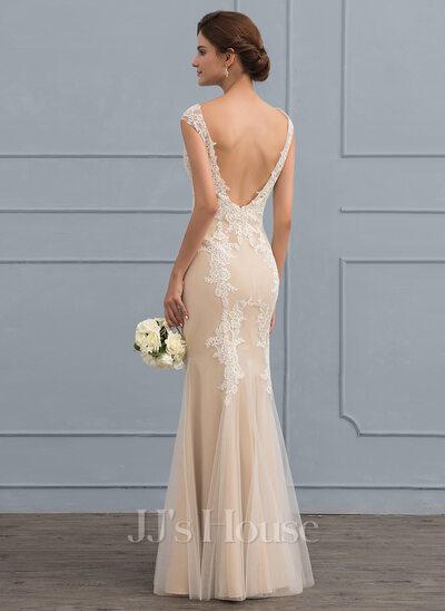 Trumpet/Mermaid Scoop Neck Floor-Length Tulle Lace Wedding Dress ...
