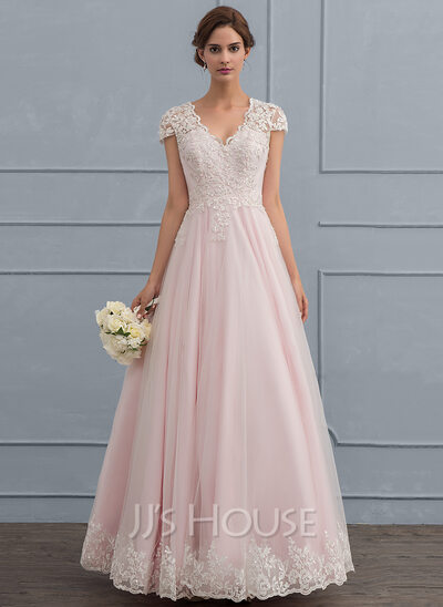 Ball-Gown V-neck Floor-Length Tulle Wedding Dress With Beading ...