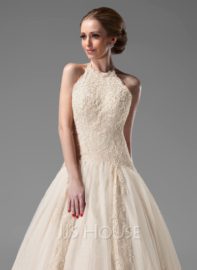 Ball-Gown Halter Chapel Train Tulle Lace Wedding Dress With Beading ...