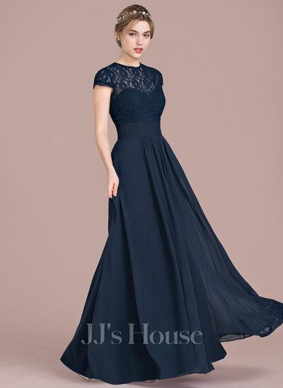 navy floor length chiffon sweetheart dress