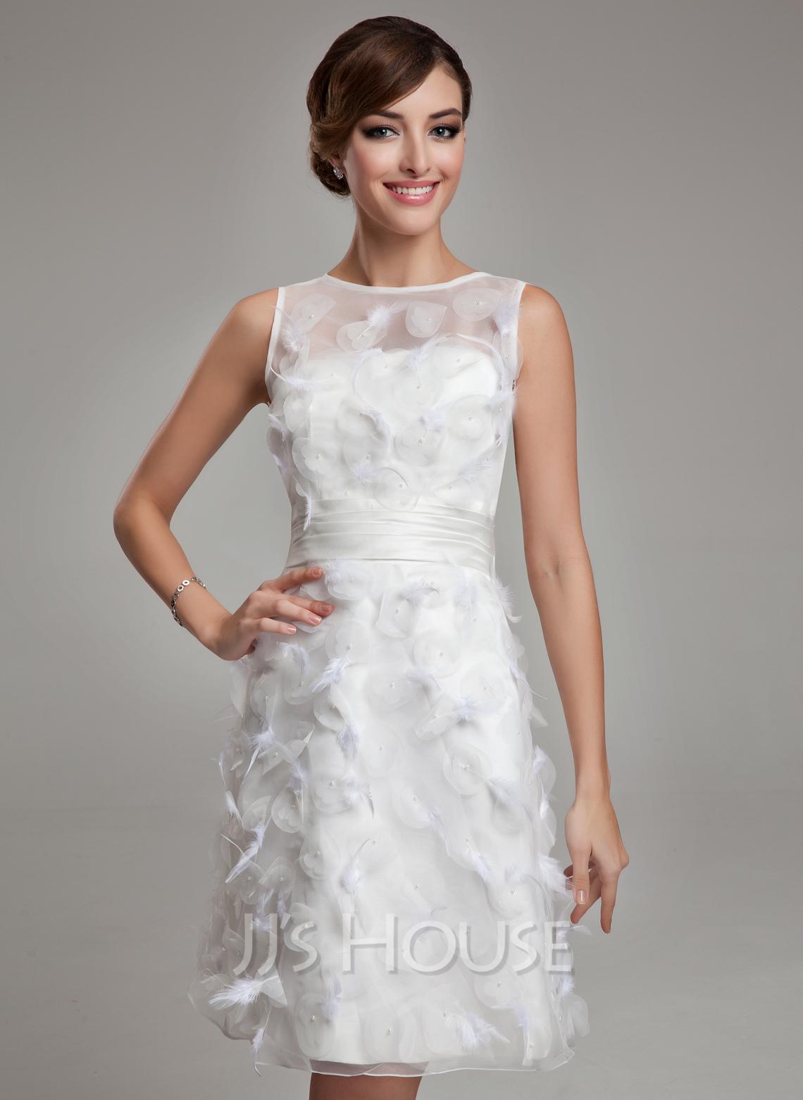 sheath column scoop neck knee length satin organza wedding dress with feather 002011489 jjshouse. Black Bedroom Furniture Sets. Home Design Ideas