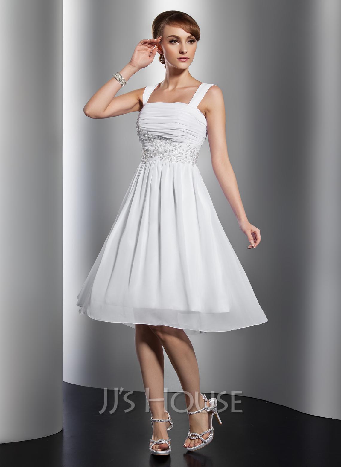 Dress Square Double Thai 100 Viscose: A-Line/Princess Square Neckline Knee-Length Chiffon
