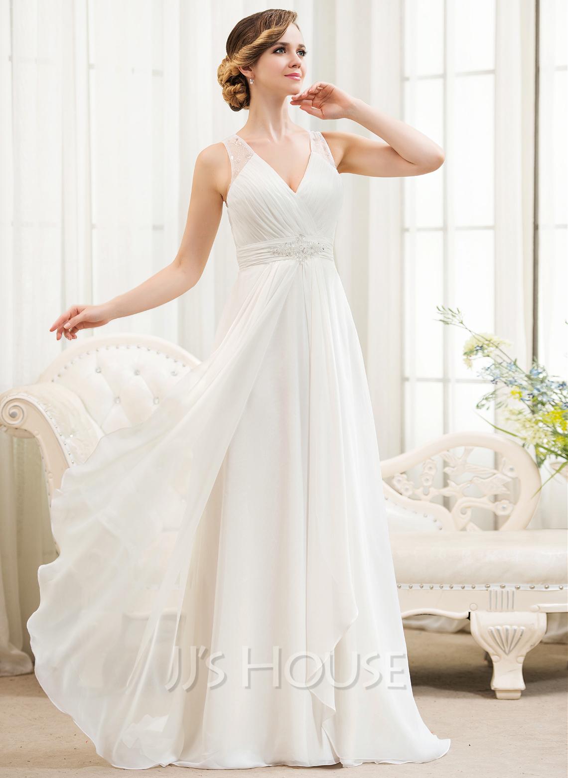 a line princess v neck sweep train chiffon wedding dress with beading sequins cascading ruffles. Black Bedroom Furniture Sets. Home Design Ideas